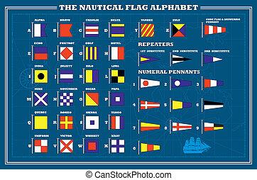 International maritime signal flags - sea alphabet , vector illustration
