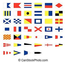 International maritime signal nautical flags, isolated on white background