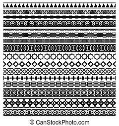 Islamic seamles vector line border set. Geometric repeated horizontally ornament for frame design