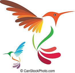 Isolated abstract humming bird on white background, vector