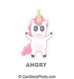 Isolated angry unicorn.