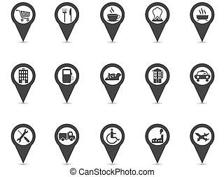 black location place gps pin icons set
