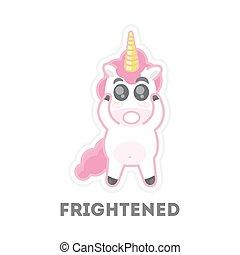 Isolated frightened unicorn.