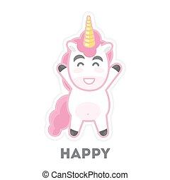 Isolated happy unicorn.