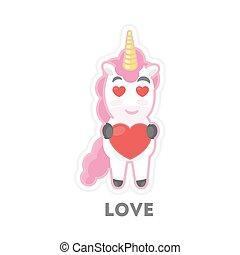 Isolated loving unicorn.