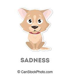 Isolated sad dog.
