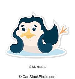 Isolated sad penguin.
