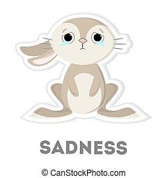 Isolated sad rabbit.