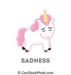 Isolated sad unicorn on white background. Funny cartoon emoji.