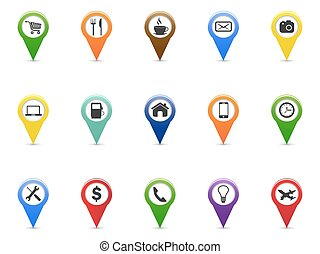 color GPS and Navigation pointer icons set