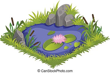Isometric Cartoon Water Pond with Wild Reeds and Lilies, Element for Tileset Map