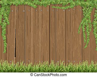 Ivy and grass on old wooden fence background