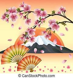 Japanese background with sakura blossom - Japanese cherry tree