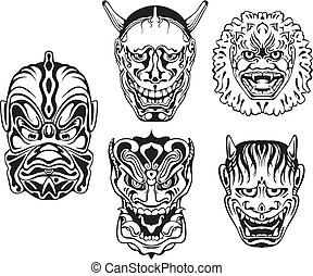 Japanese Demonic Noh Theatrical Masks. Set of black and white vector illustrations.