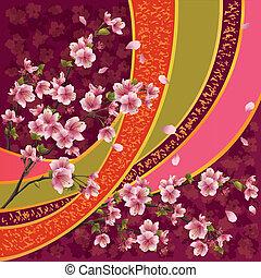 Japanese pattern with sakura blossom