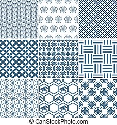 Japanese traditional pattern set. Illustration vector.