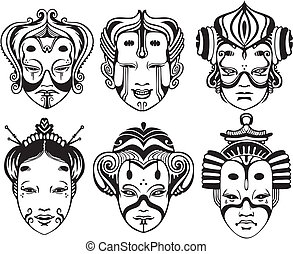 Japanese Tsure Noh Theatrical Masks. Set of black and white vector illustrations.