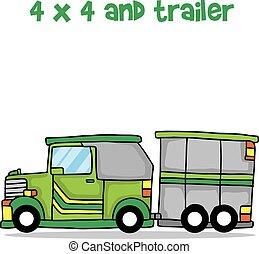 Jeep and trailer cartoon design vector