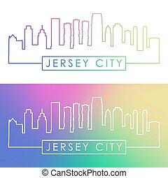 Jersey City skyline. Colorful linear style.