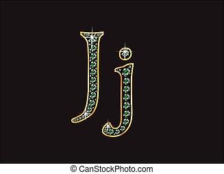 Jj in Emerald Jeweled Font