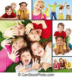 Collage of joyful children during their vacation