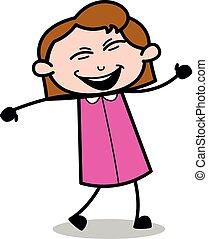 Joyful Dancing - Retro Office Girl Employee Cartoon Vector Illustration?