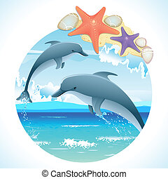 illustration of pair of jumping dolphin in sea