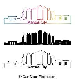 Kansas City V2 skyline linear style with rainbow