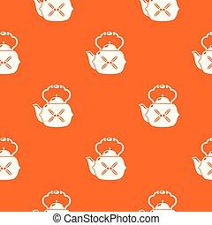 Kettle vintage pattern vector orange