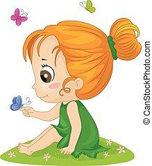 Kid Girl Butterflies