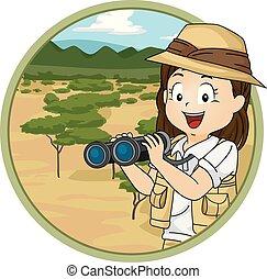 Illustration of a Kid Girl Explorer Holding a Binoculars Overlooking the Savanna