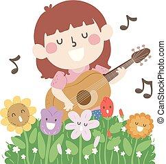Kid Girl Flowers Mascot Sing Illustration