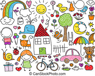Collection of cute children's drawings of kids, animals, nature, objects