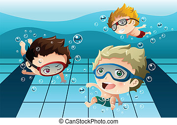 A vector illustration of happy kids having fun in the swimming pool