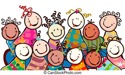 happy kids with smiling faces