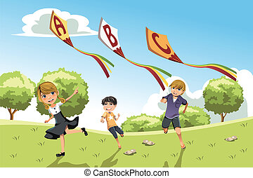 A vector illustration of three kids playing in a park running with alphabet kites