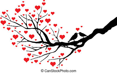 birds kissing on a heart tree, vector background