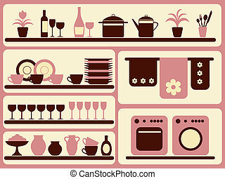 Kitchen ware and home objects set. Vector illustration.