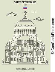 Kronstadt Naval Cathedral in Saint Petersburg, Russia. Landmark icon in linear style