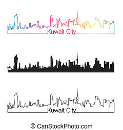 Kuwait City skyline linear style with rainbow