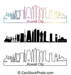Kuwait City V2 skyline linear style with rainbow