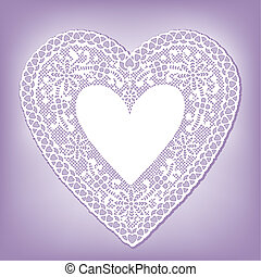 Lace Doily Heart on Pastel Lavender