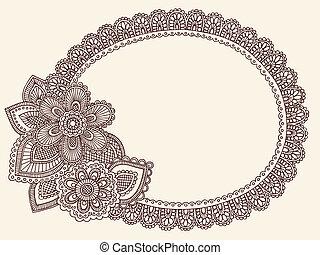 Lace Doily Henna Frame Vector