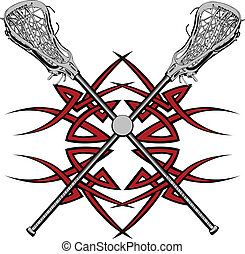 Lacrosse Sticks and Ball with Tribal Borders Vector Graphic