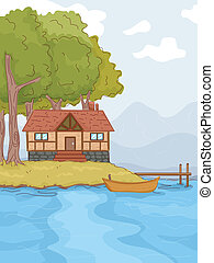 Illustration Featuring a Log Cabin by a Lake