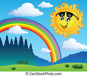 Landscape with rainbow and Sun 1