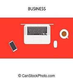 Laptop, smartphone, coffee