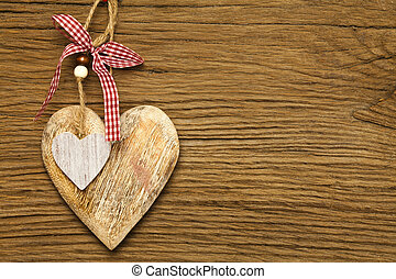 Large and small wooden heart