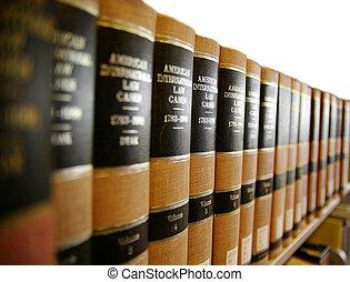 Law / legal books on a book shelf