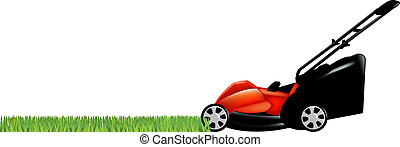Lawnmower With Green Grass, Isolated On White Background, Vector Illustration